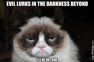Grumpy Cat lurks in the Darkness